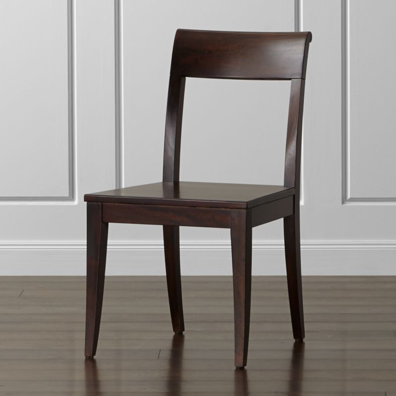 dark brown wooden dining chairs table glass top 6 cabria wood chair reviews crate and barrel