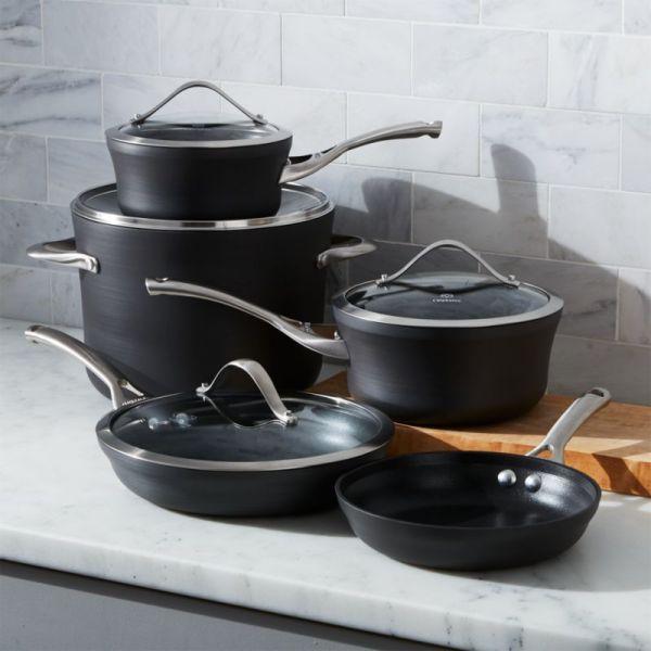 Calphalon Contemporary -stick 9-piece Cookware Set With Bonus Crate And Barrel