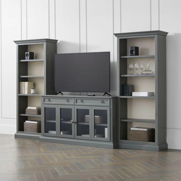 Cameo 3-piece Modular Grey Glass Door Media Entertainment
