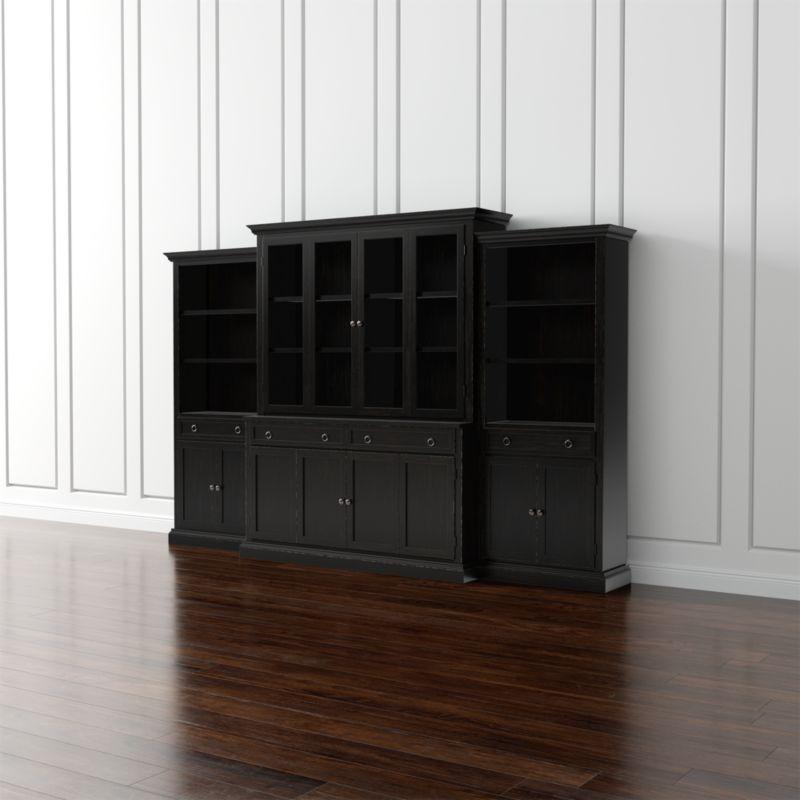 living room storage units black decorating the cameo 4-piece modular bruno glass door wall unit ...