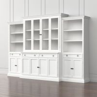 Cameo 4-Piece Modular White Glass Door Wall Unit with ...