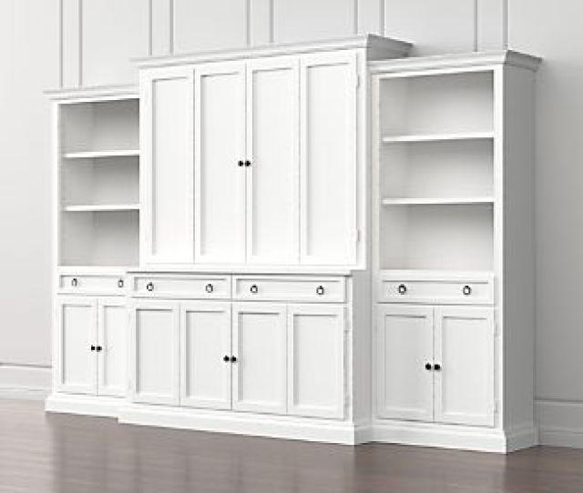 Cameo 4 Piece White Storage Bookcase Entertainment Center