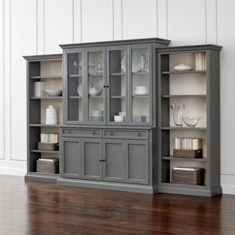 Cameo 4Piece Grey Glass Door Wall Unit wOpen Bookcases