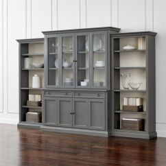 Bookcase Cabinets Living Room Leather Sofa Pictures Cameo 4 Piece Grey Glass Door Wall Unit With Open Bookcases Reviews Crate And Barrel