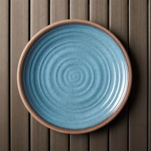 "Blue 10.5"" Melamine Plate Crate And Barrel"