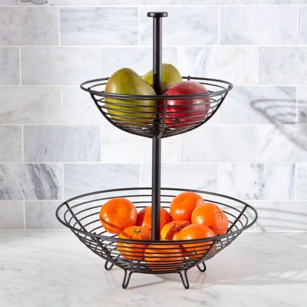 Carter 2-tier Matte Black Fruit Basket Crate