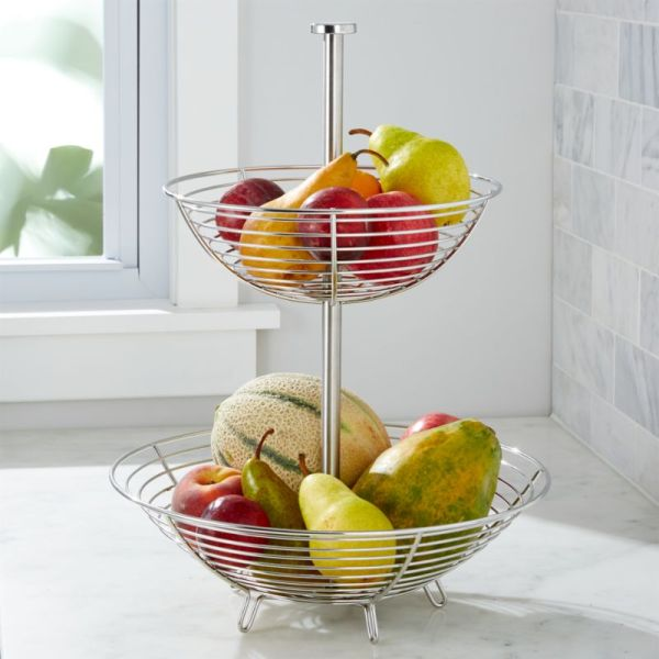Carter Stainless 2-tier Fruit Basket Crate And