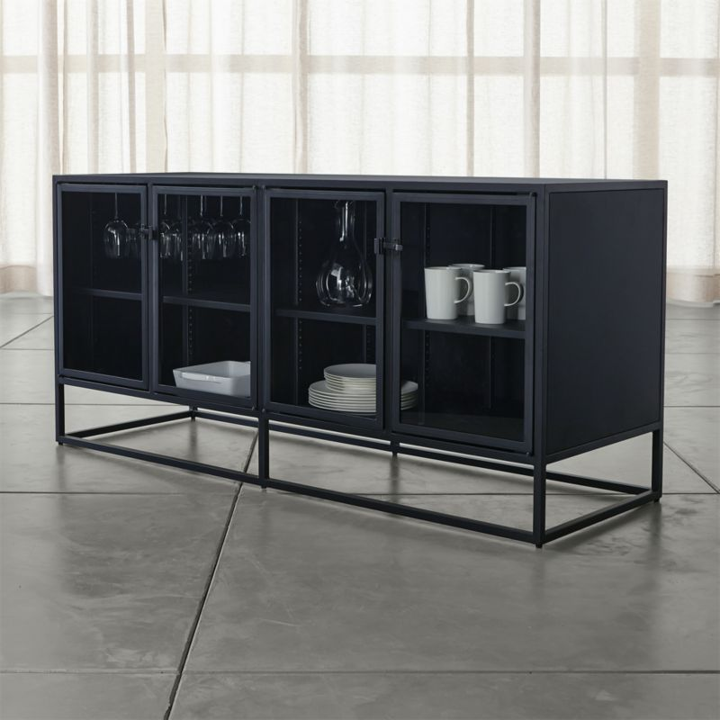 kitchen benches with storage samsung package casement black large sideboard + reviews | crate and barrel