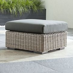 Outdoor Chair And Ottoman Replica Chairs Uk Grey Wicker Furniture Crate Barrel Cayman With Graphite Sunbrella Cushion