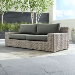 Spring Haven Brown All Weather Wicker Patio Sofa Rental Outdoor Furniture Cushions - Home The Honoroak