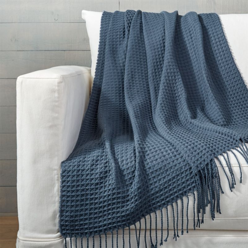Cecili Blue Waffle Weave Throw  Reviews  Crate and Barrel