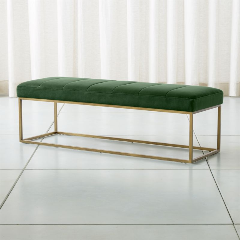 Channel Dark Green Velvet Bench Reviews Crate And Barrel