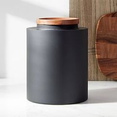 Canisters Kitchen Round Black Table Crate And Barrel Clark Large Matte Canister