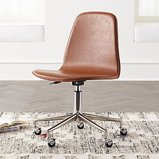 leather desk chairs tennis court crate and barrel kids class act brown silver chair