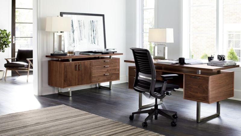 Clybourn Walnut Executive Desk  Crate and Barrel