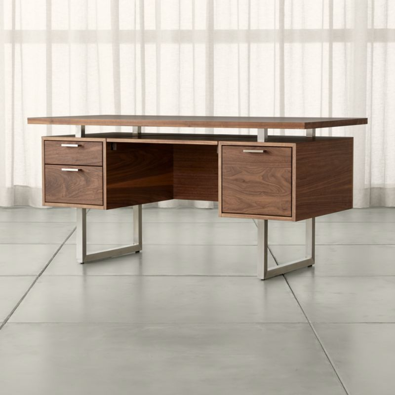 Clybourn Walnut Executive Desk  Reviews  Crate and Barrel