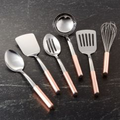Kitchen Utensils Set 2 Tier Island Copper Handled Of Six Reviews Crate And Barrel