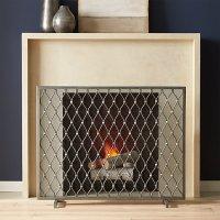 Corbett Silver Fireplace Screen | Crate and Barrel