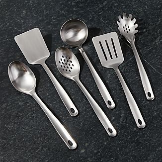 kitchen utensil set delta faucet cooking sets crate and barrel brushed stainless steel utensils of 6