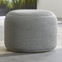 Grey Outdoor Pouf | Crate and Barrel