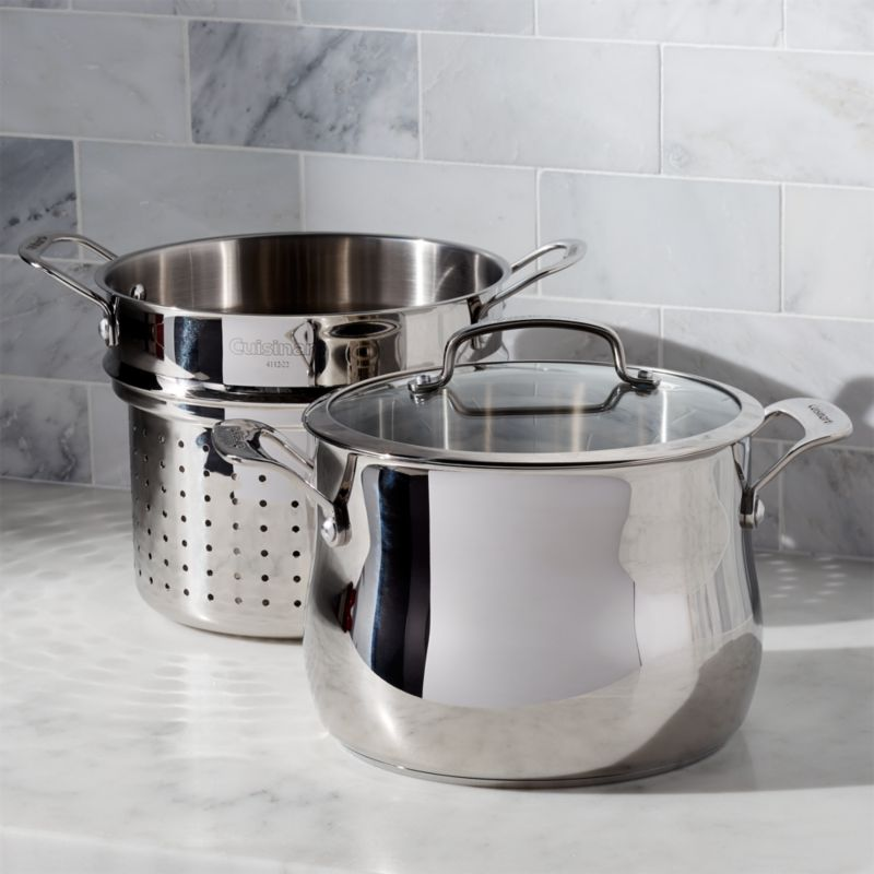 Cuisinart 6Qt 3pc Pasta Pot with Strainer  Crate and