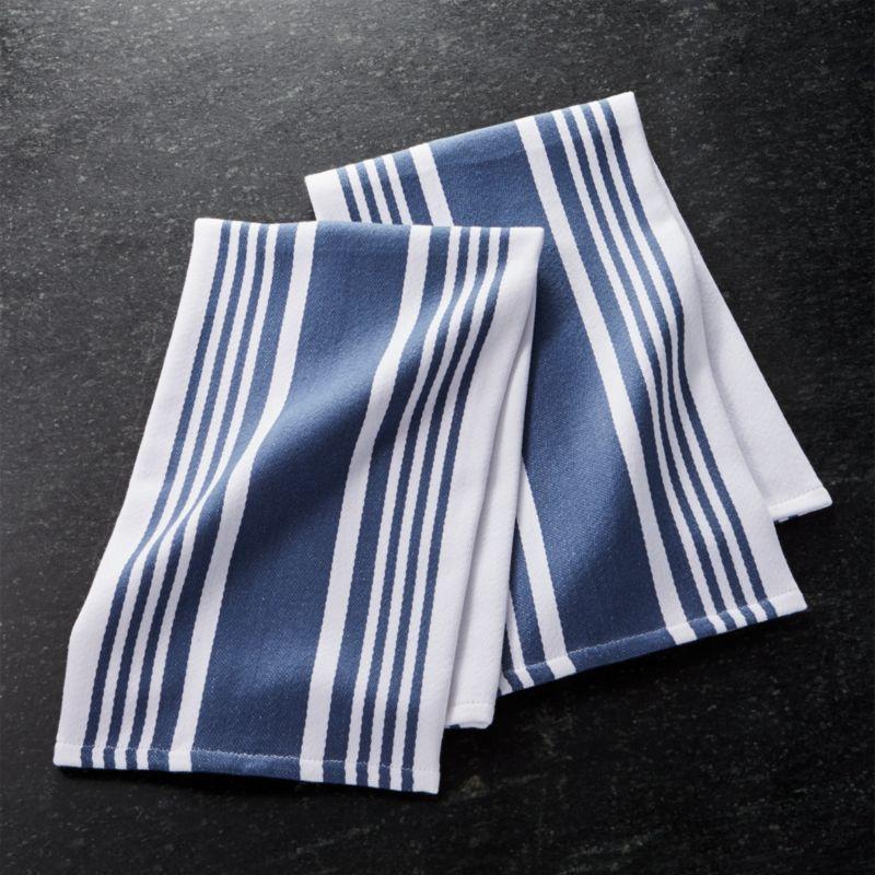 kitchen towels custom kitchens cuisine stripe indigo blue dish set of 2 reviews crate cuisinestripedshtwlindgs2shs17
