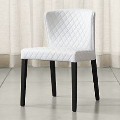 Acrylic Side Chair With Cushion Wooden Desk On Wheels Shop Dining Chairs Kitchen Crate And Barrel Curran Quilted Oyster