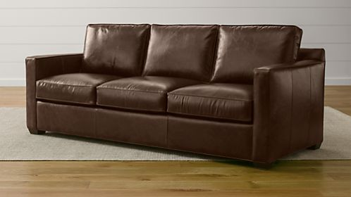 davis leather twin sleeper sofa hamilton with chaise beds and sofas | crate barrel