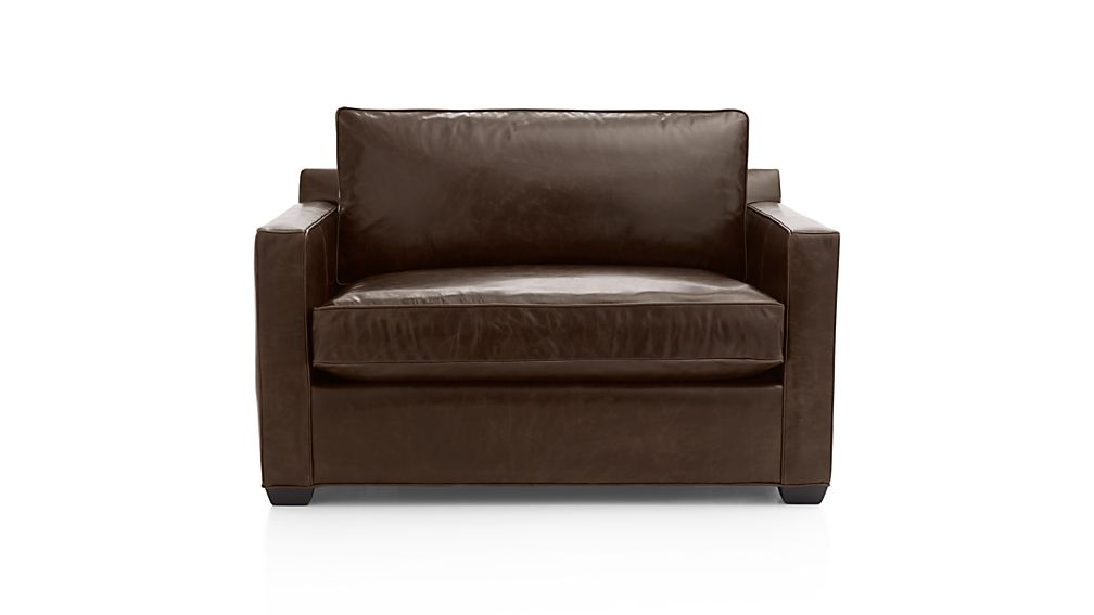 davis leather twin sleeper sofa liatorp table hack libby: cashew | crate and ...