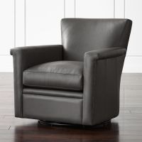 Declan Leather 360 Swivel Chair Lavista: Slate | Crate and ...