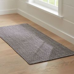 Kitchen Rug Runners Garden Window Lowes For Hallway Outdoor Crate And Barrel Della Grey Cotton Flat Weave Runner 2 5x6