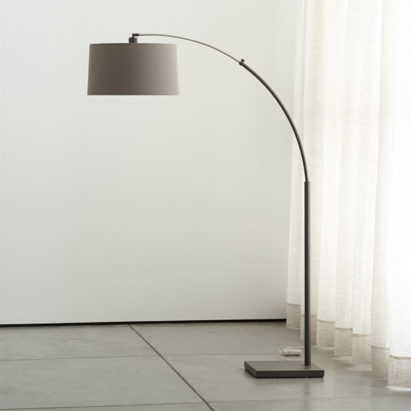 Dexter Arc Floor Lamp with Grey Shade + Reviews