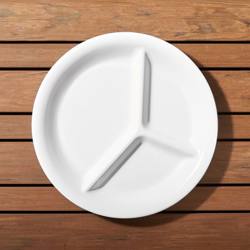 White Melamine Divided Plate  Crate and Barrel