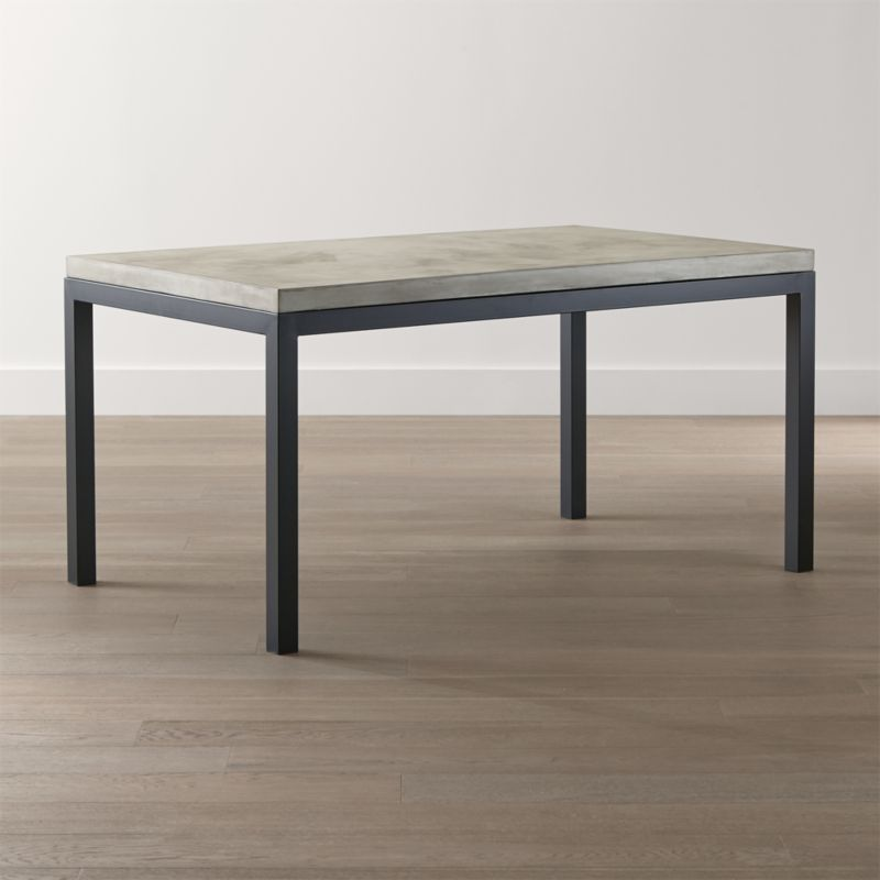 kitchen table top garbage parsons concrete dark steel base dining tables crate and barrel drkstlbs60x36ccttpshs15 1x1