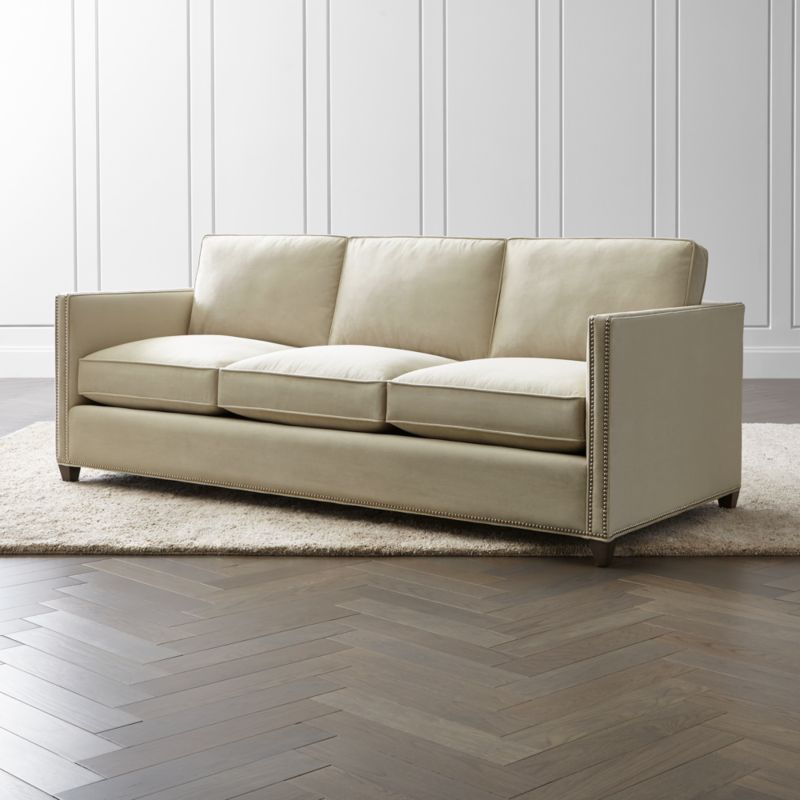 leather sleeper sofa with nailheads toddler flip bed sleeping bag dryden 3 seat queen and air mattress reviews crate barrel