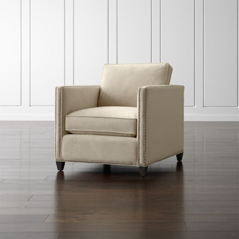 barrel accent chair armless desk on casters dryden cream armchair with nailheads + reviews | crate and