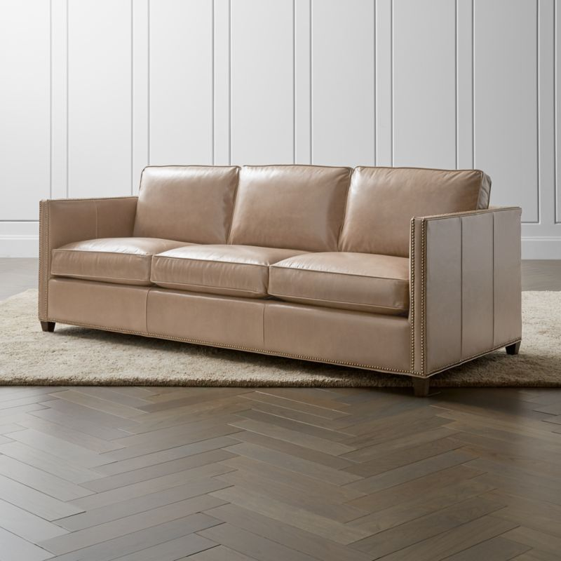 leather sleeper sofa with nailheads green throws for sofas dryden 3 seat queen and air mattress reviews crate barrel