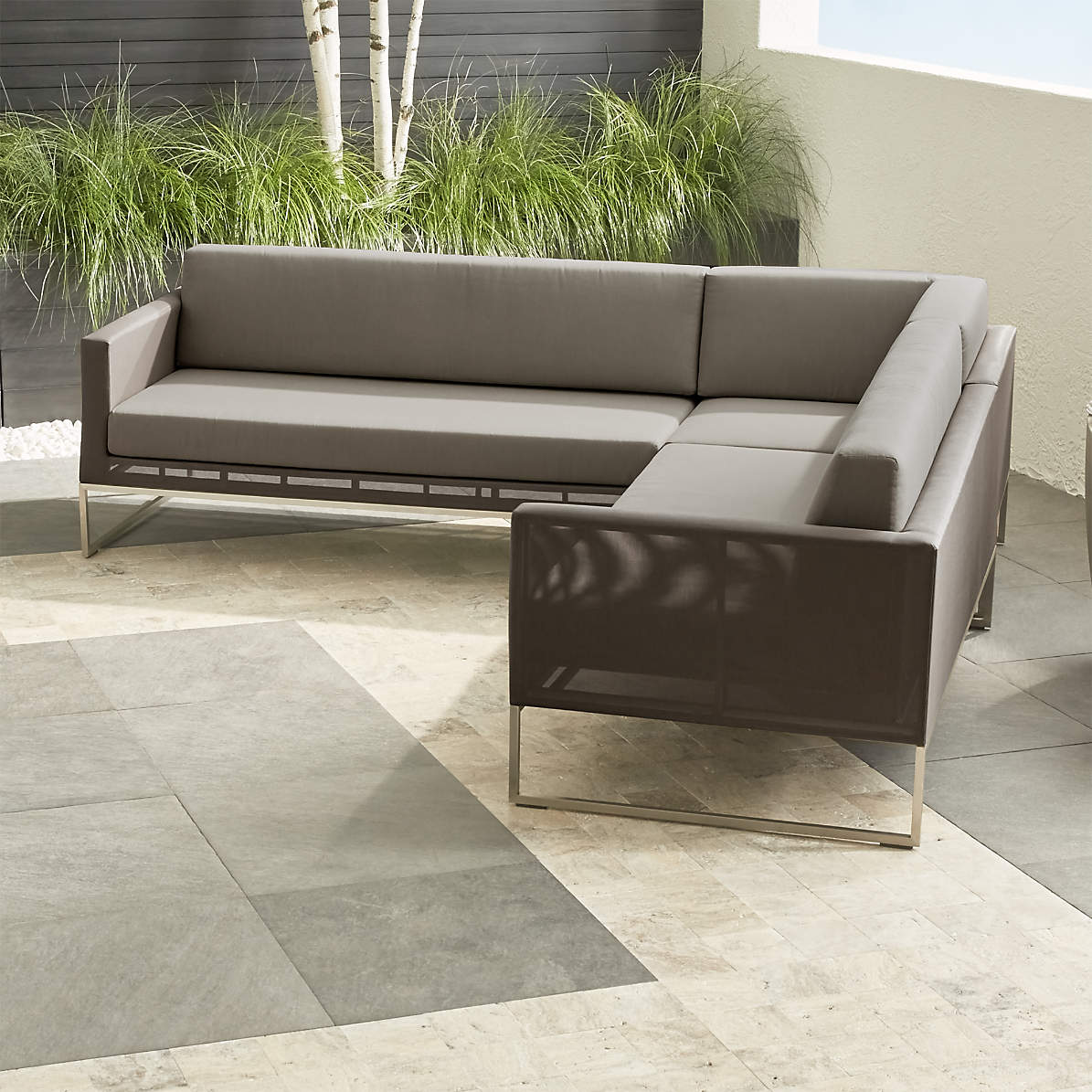 dune taupe 3 piece sectional sofa with sunbrella cushions