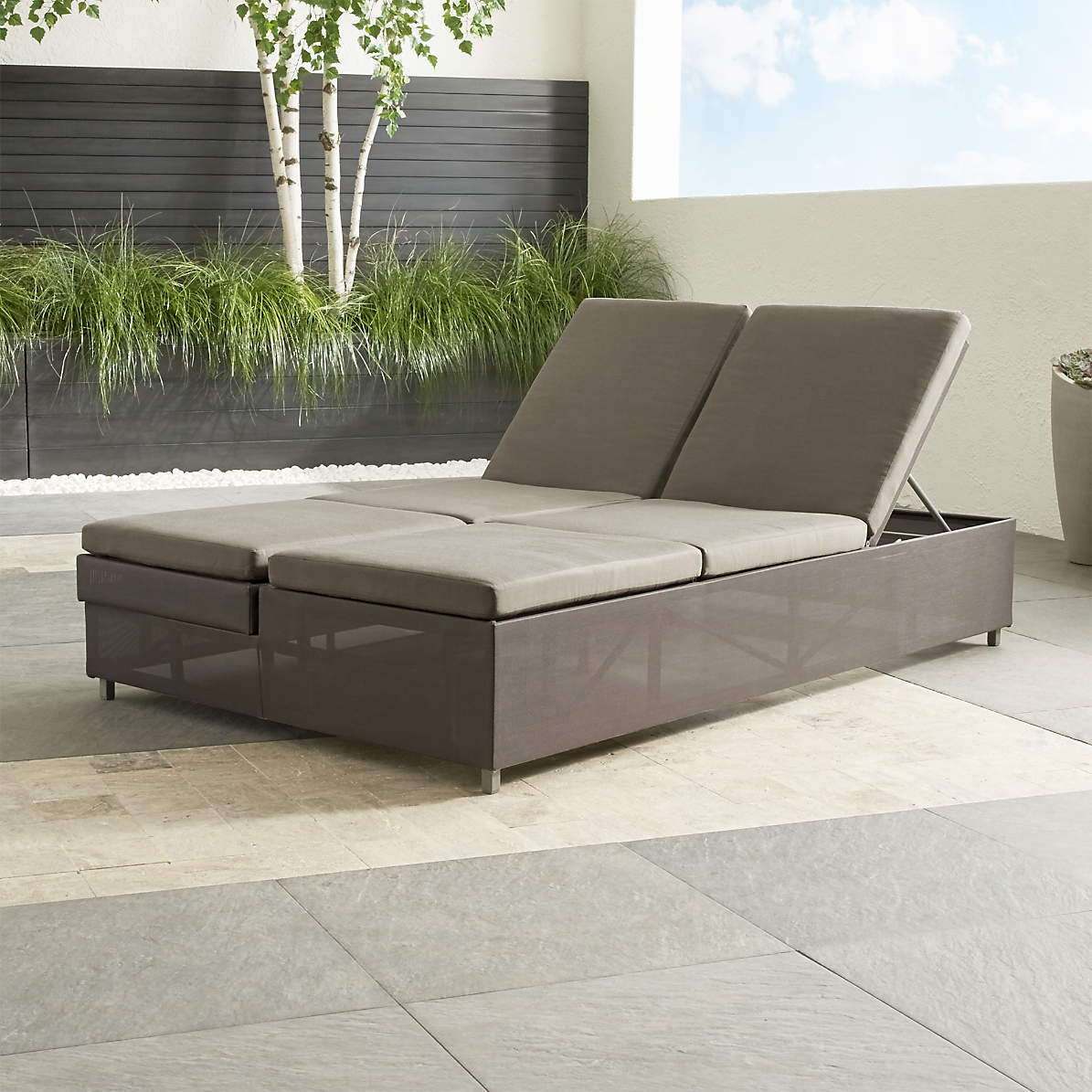 dune taupe double chaise sofa lounge with sunbrella cushions