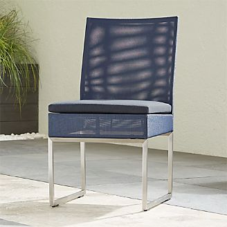 dining chair seat covers b and m black wood chairs outdoor patio furniture crate barrel dune navy side with sunbrella cushion