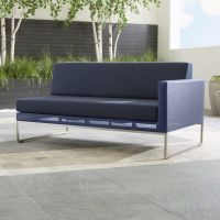 Dune Right Arm Navy Blue Loveseat + Reviews | Crate and Barrel