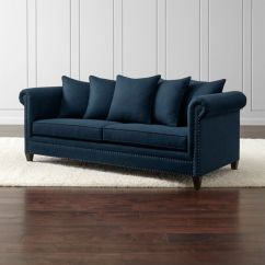 Crate And Barrel Lounge Sofa Pilling Stand Durham Navy Blue Couch With Nailheads Reviews Durhamsofasapphireshs16 1x1