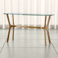 Elke Glass Console Table with Brass Base in Console Tables ...