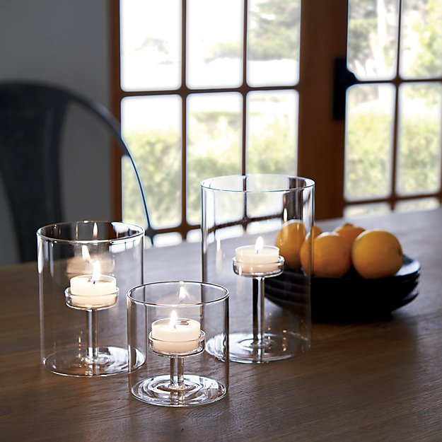 pedestal kitchen table hide away trash bin elsa glass tea light candle holders | crate and barrel