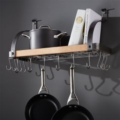 Kitchen Pot Racks Hutch Ikea Hanging Wall Mounted Stand Crate And Barrel Enclume Steel Wood Bookshelf Rack