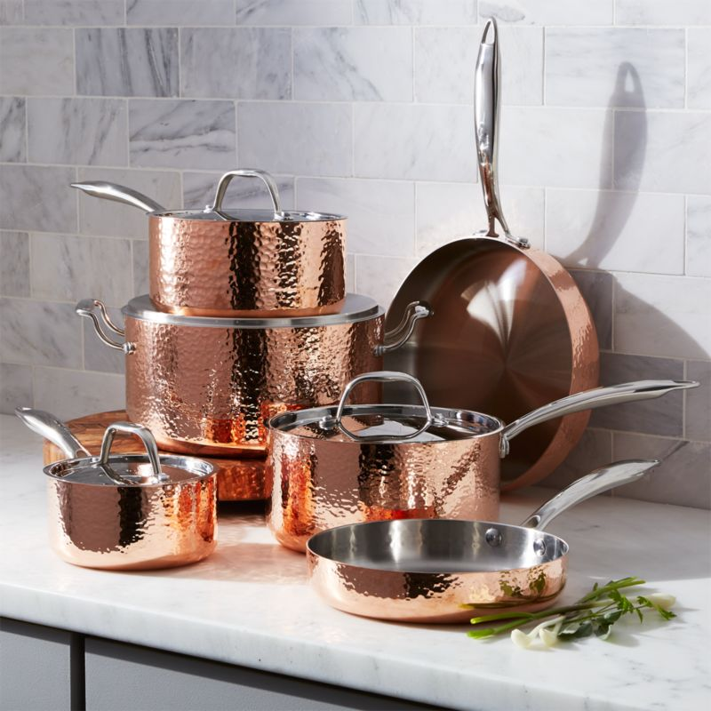 kitchen aid professional 5 plus black walnut table fleischer and wolf seville hammered copper 10-piece ...