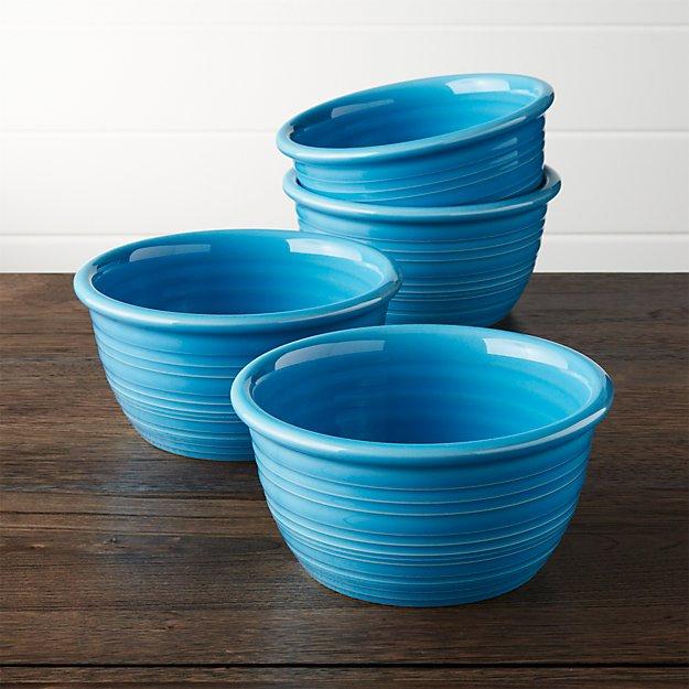 Farmhouse Aqua Cereal Bowl Set Of 4 Crate And Barrel