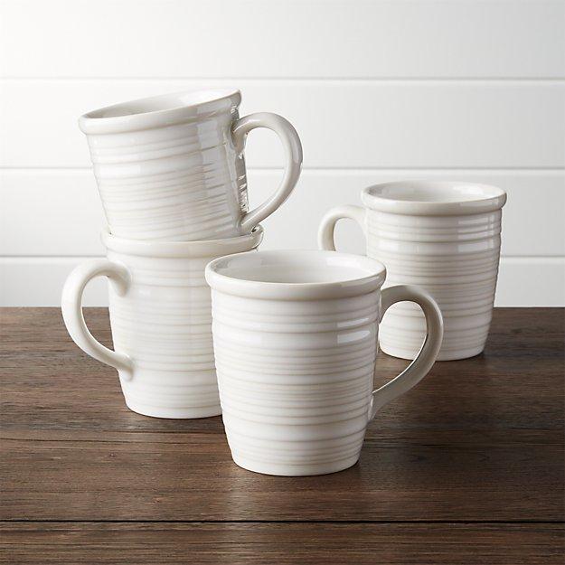 Farmhouse White Mugs Set Of 4 Crate And Barrel