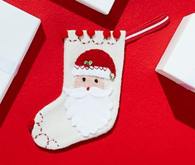 Felt Stocking Santa Ornament
