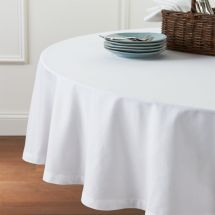 "Fete White 90"" Tablecloth Crate And Barrel"